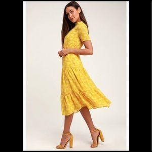 Lulus Tiered Yellow Midi Peasant Dress SMALL